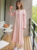 睡裙女春秋純棉薄款粉色少女甜美可愛宮廷公主風睡衣過膝長款裙子   蘑菇街小屋