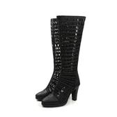 【不可超取】HUMAN PEACE 皮革 靴子 長靴 簍空 高跟 黑色 女鞋 8070202 no413