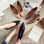 低跟鞋 工作鞋中跟奶奶鞋女粗跟正韓尖頭低跟單鞋百搭女鞋潮  米菲良品