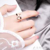 日韓潮人時尚個性食指女戒指蝴蝶開口關節百搭彩金指環鈦鋼飾品 花間公主