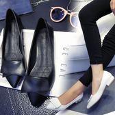 推薦達芙妮單鞋女春秋新款平底淺口黑色職業工作鞋低跟尖頭皮鞋子【店慶85折促銷】