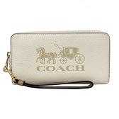 【COACH】大馬車LOGO手掛式拉鍊零錢袋長夾(米白)