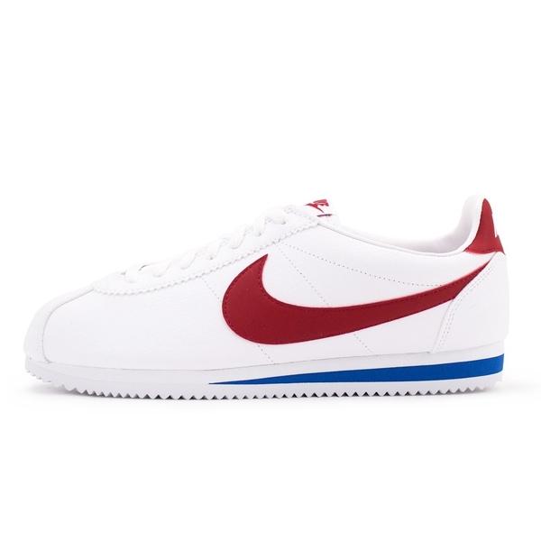 NIKE WMNS CLASSIC CORTEZ LEATHER 休閒鞋白紅女款阿甘鞋(滑皮皮紋) NO.807471103