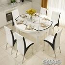 餐桌椅組合現代簡約6人實木家用伸縮摺疊圓桌鋼化玻璃電磁爐餐桌 2021新款