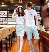 正韓情侶裝夏裝套裝波點套裝裙短褲甜美情侶款兩件套【中秋節單品八折】