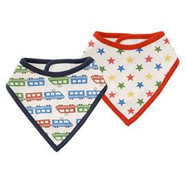 圍兜口水巾吃飯用三角頭巾式2件1組電車&星星圖案[魔鬼氈]