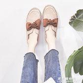 春季新款韓版百搭學生厚底鬆糕鞋平底休閒一腳蹬小皮鞋單鞋女【果果新品】