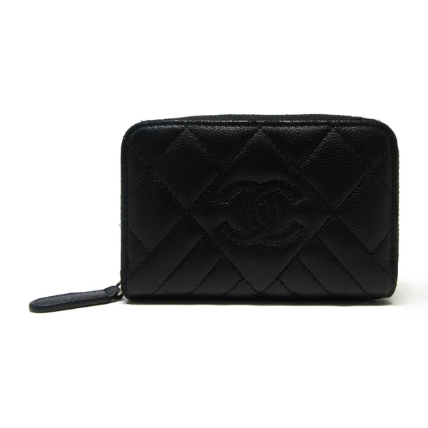 CHANEL 香奈兒 黑色荔枝紋牛皮ㄇ字短夾  卡包 零錢包 Zipped Coin Purse【BRAND OFF】