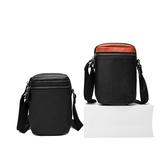 真皮肩背包-黑色簡約雙層手機包男女側背包2色73wp7【時尚巴黎】
