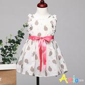 童裝 洋裝 水果印花配色綁帶後拉鍊無袖洋裝(白)
