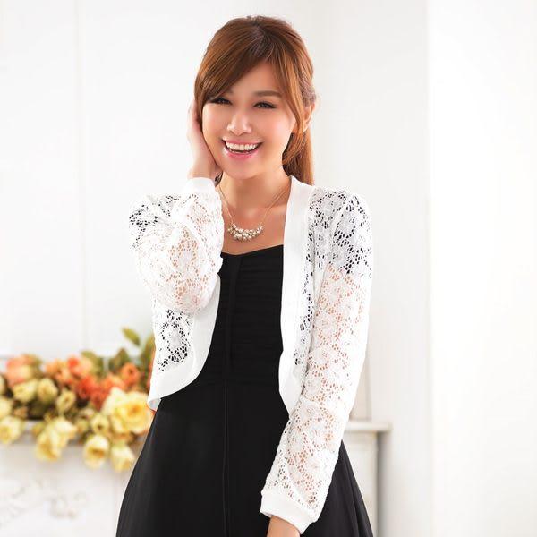 中大尺碼*蕾絲外套鏤空網花禮服搭配針織小外套 ~美之札