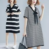 洋裝 連身裙文藝中大尺碼寬鬆顯瘦優雅蝴蝶結中長款條紋短袖V領連衣裙女