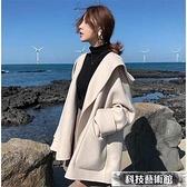 毛呢外套 雙面羊絨呢子大衣秋冬新款小香風氣質連帽寬鬆斗篷毛呢外套女 交換禮物