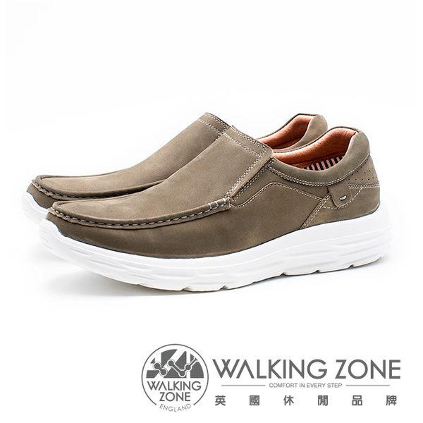 WALKING ZONE 皮質直套輕量運動休閒鞋 男鞋 - 灰棕(另有藍)