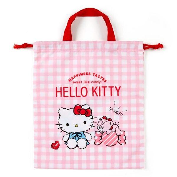 〔小禮堂〕Hello Kitty 日製棉質手提束口袋《粉.格紋》30x35cm.縮口提袋.手提袋 4901610-64650