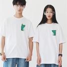 左胸 公恐龍 母恐龍 情侶短袖T恤 2色 情人 禮物 短T 寬鬆 韓 t 情侶裝 亞洲版型