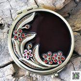 化妝鏡  紅月復古歐式小鏡子雙面可愛隨身便攜創意折疊化妝鏡梳妝鏡禮物 歐歐流行館
