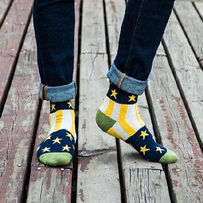 長襪禮盒(5雙裝)-冬季保暖羊毛豎條星星時尚男士襪子套組5色72s15[時尚巴黎]