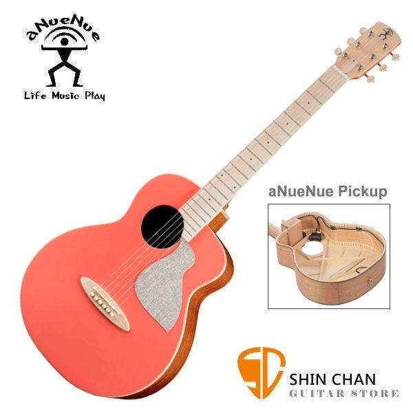 aNueNue MC10-LCE 可插電 air blue 拾音器 彩色鳥吉他 珊瑚橘 36吋小吉他 附多樣配件