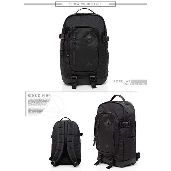 美國 AIRWALK - 都市系列  多功能調節式運動筆電後背包-黑