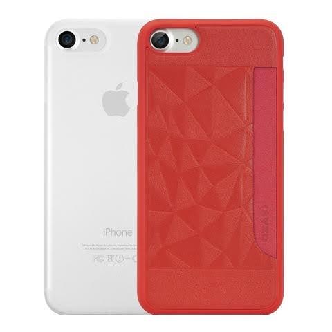 【唐吉】Ozaki O!coat 0.3 iPhone 7 二合一包裝 超薄皮紋口袋殼+超薄霧透保護殼 -紅色(岩石)/霧透白