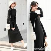 長袖連身裙 長袖連身裙女2021秋裝新款高腰顯瘦中長款過膝長裙修身打底裙 coco