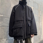 棉服男 潮流日系復古大口袋工裝夾棉外套棉衣棉服