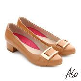 A.S.O 職場女力 真皮鏡面方形飾扣高跟鞋 卡其