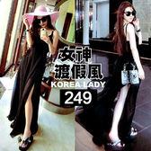 克妹Ke-Mei【AT42551】歐美辛辣風性感側開叉吊帶雪紡渡假風長洋裝