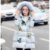 羽絨外套 中長款-冬季貉子毛領修身顯瘦女外套3色72i32【巴黎精品】
