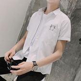 短袖條紋襯衫 條紋日系復古修身夏季印花襯衣《印象精品》t319