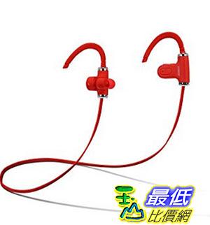 [美國直購] Fisher Wireless Sports Earphone, Sweatproof, Form Fitting Clip to Ear, Built-In Microphone Red 耳機