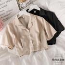 雪紡衫短款女洋氣百搭小眾氣質短袖襯衫夏季【時尚大衣櫥】
