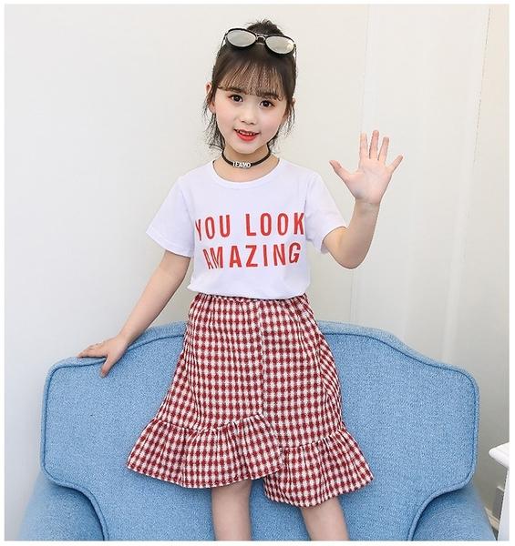 衣童趣♥夏季 韓版中大女童 字母圓領短袖T+小格子魚尾裙 套裝組 氣質甜美 正式場合必備