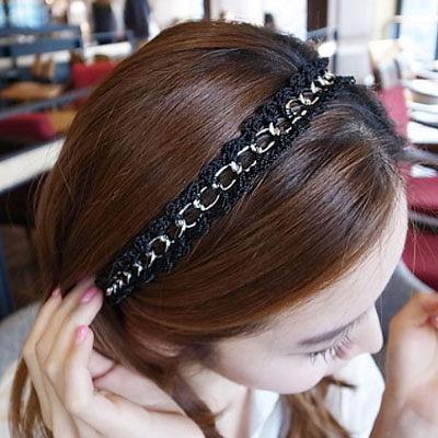 髮帶 韓劇同款黑色蕾絲麻花鎖鍊彈性髮帶【O2543】☆雙兒網☆