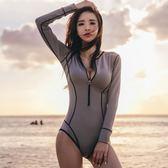 【全館】82折韓新款灰色時尚氣質度假長袖防曬連體泳衣女中秋佳節
