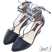 Ann'S輕量優雅-穩固楔型綁帶尖頭跟鞋-黑