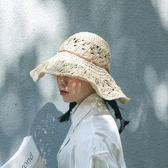 手工編織鉤針草帽 可折疊大沿帽 沙灘帽 遮陽帽【多多鞋包店】m257
