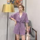 紫色連體褲套裝 女韓版寬鬆工裝很仙連衣褲西裝領收腰連身闊腿褲子 JX1530『東京衣社』