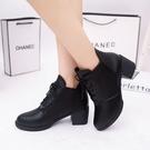 秋冬季女士單鞋圓頭高跟馬丁靴英倫風裸靴女鞋粗跟短筒短靴女棉靴 風尚