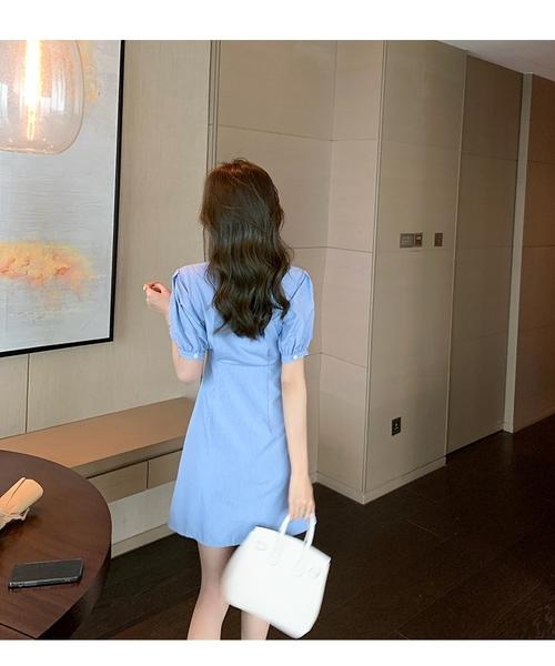 洋裝 小清新襯衫式格子連身裙-媚儷香檳-【D1593】