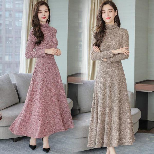 針織洋裝連身裙女 韓版新款寬鬆大尺碼中長款長袖修身打底毛衣裙子 618降價