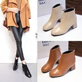 秋冬季新款英倫風方頭皮靴粗跟高跟鞋子女士后拉鏈短靴馬丁靴