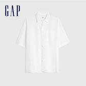 Gap男裝 輕盈質感彈力短袖襯衫 584288-白顏色