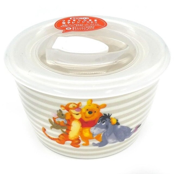 小禮堂 迪士尼 小熊維尼 陶瓷保鮮碗 附蓋 210ml (灰橫紋款) 4939560-52557