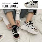 [Here Shoes]底厚6cm 皮革+PU配色綁帶 厚底圓頭運動風休閒鞋 韓式老爹鞋-KS013