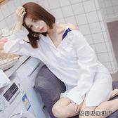 棉麻白色襯衫睡衣女夏性感長款