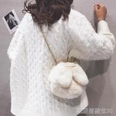 毛毛包可愛兔耳朵毛絨包包女新款軟萌少女鏈條包百搭毛毛單肩斜背包 凱斯盾