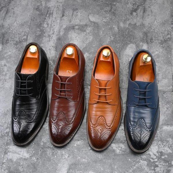 布洛克皮鞋 男皮鞋 新款潮流大碼男鞋46 47 48碼歐美男士時尚商務男休閒皮鞋《印象精品》q415