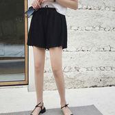 褲裙 雪紡 綁帶 抓皺 寬褲 褲裙 鬆緊腰 短褲【YF179】 ENTER  09/05